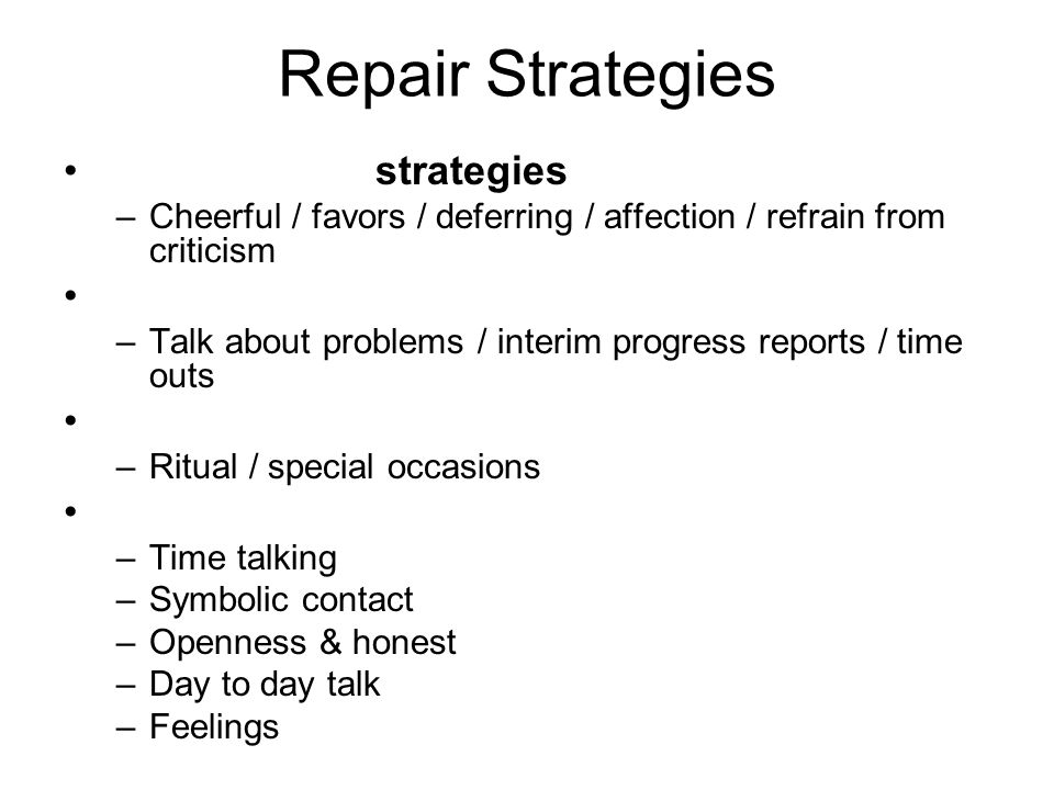 Repair Strategies strategies