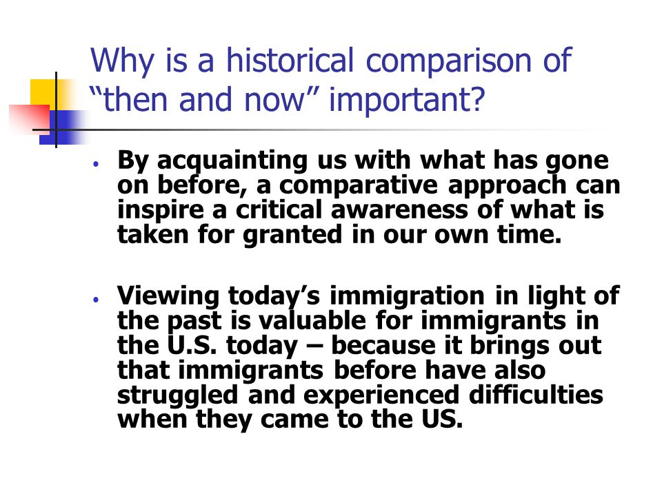 What's New About Contemporary Immigration to the United