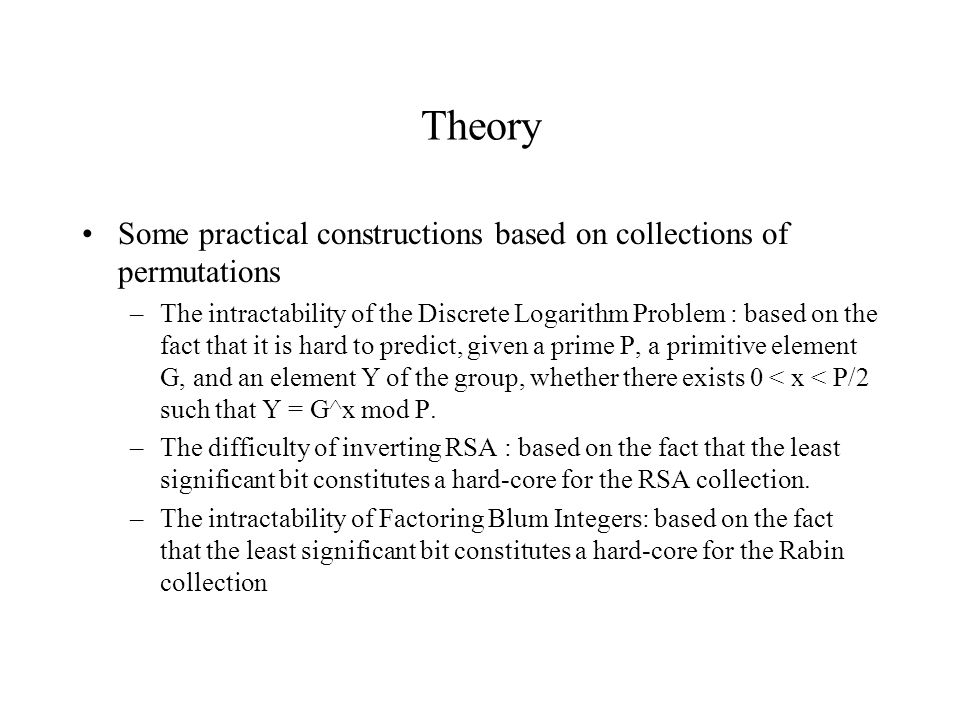 Theory Some practical constructions based on collections of permutations.