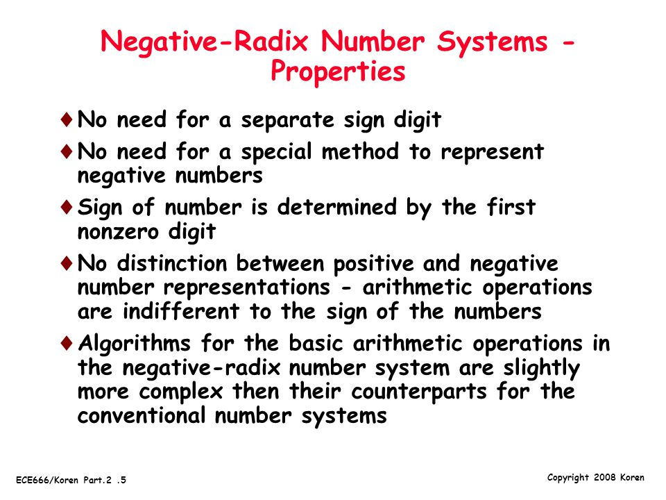 Negative-Radix Number Systems - Properties