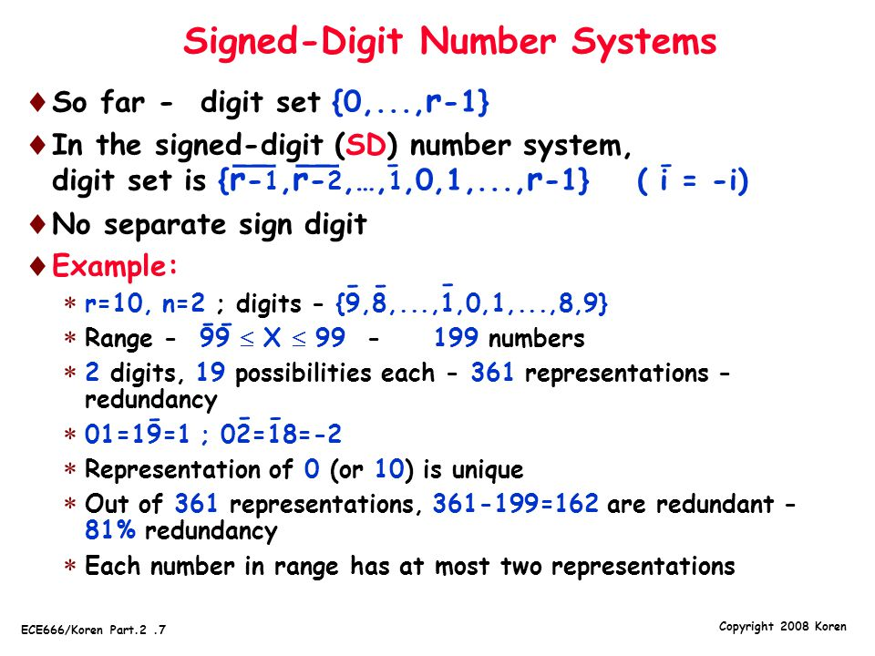 Signed-Digit Number Systems