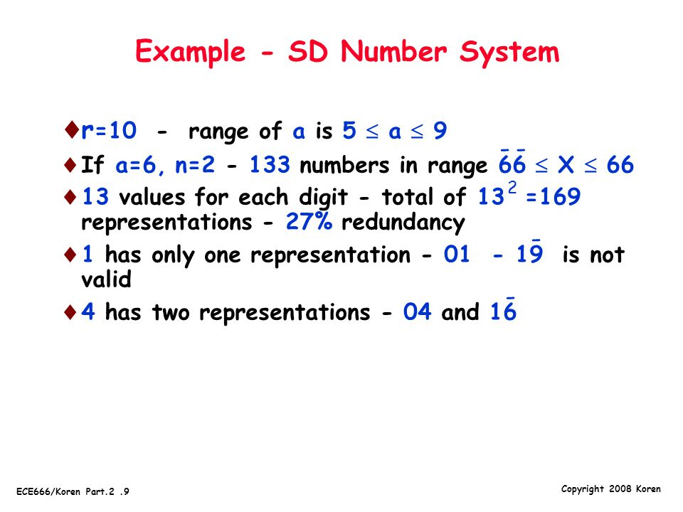 Example - SD Number System