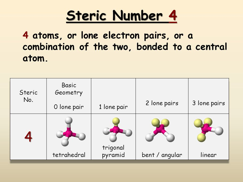 Steric Number 4 4 atoms, or lone electron pairs, or a combination of the two, bonded to a central atom.
