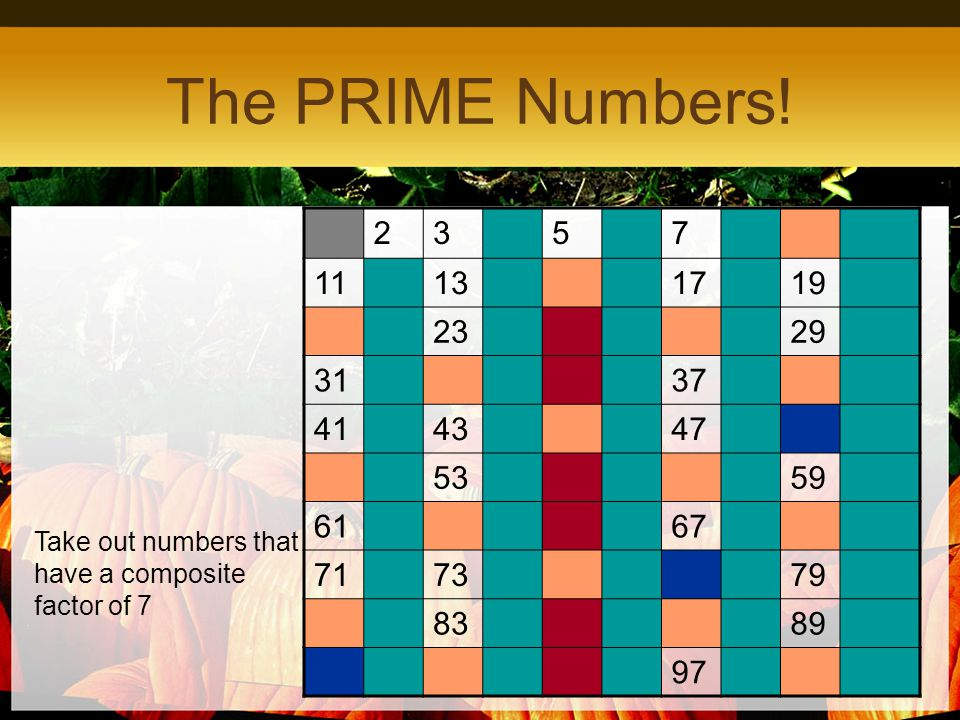 The PRIME Numbers! 2. 3. 5. 7. 11. 13. 17. 19. 23. 29. 31. 37. 41. 43. 47. 53. 59. 61.