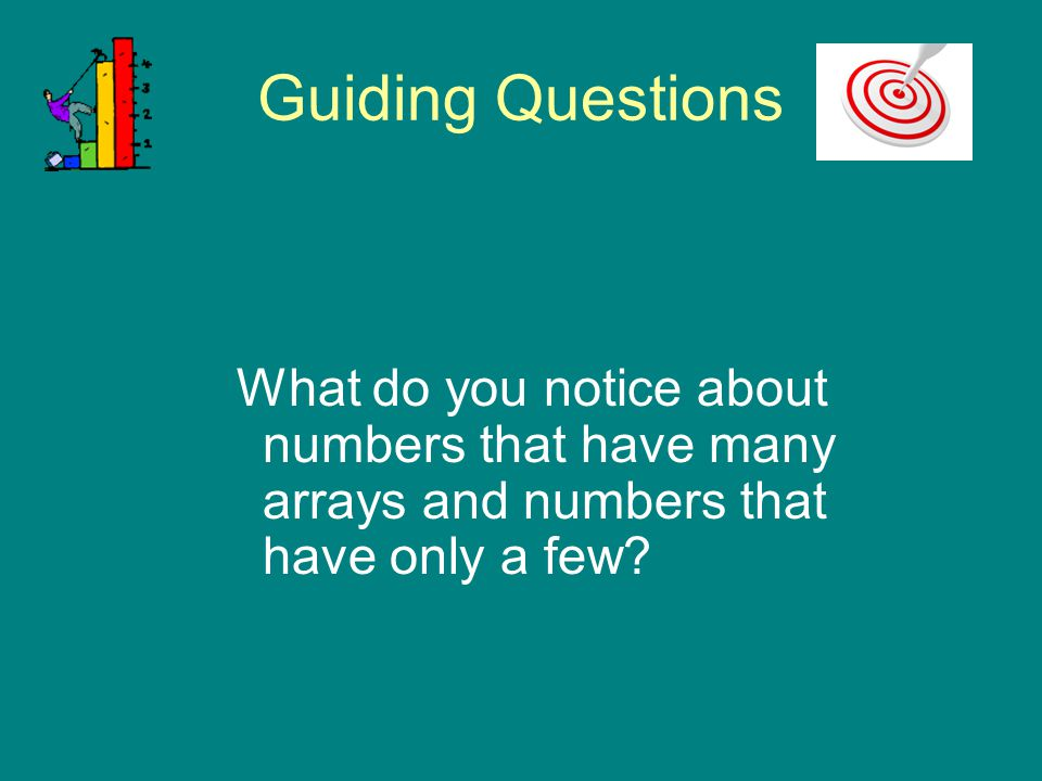 Guiding Questions What do you notice about numbers that have many arrays and numbers that have only a few