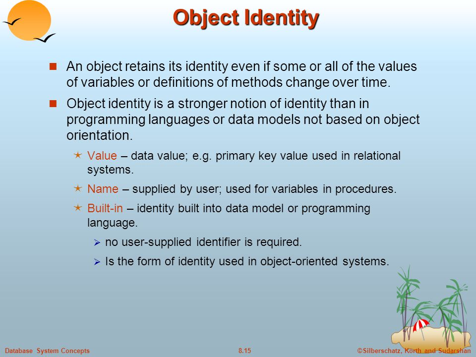 Object Identity An object retains its identity even if some or all of the values of variables or definitions of methods change over time.