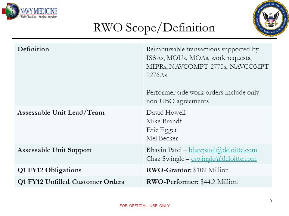 RWO Scope/Definition Definition