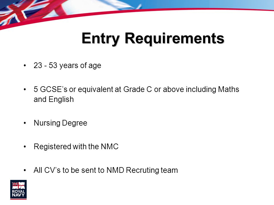 Entry Requirements 23 - 53 years of age