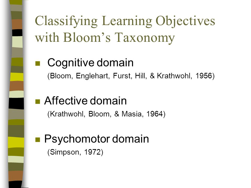 Classifying Learning Objectives with Bloom's Taxonomy