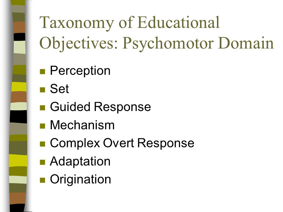 Taxonomy of Educational Objectives: Psychomotor Domain