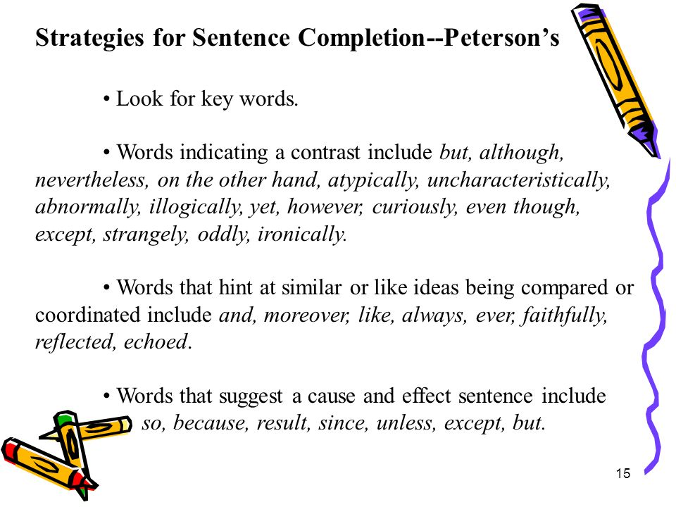 Strategies for Sentence Completion--Peterson's