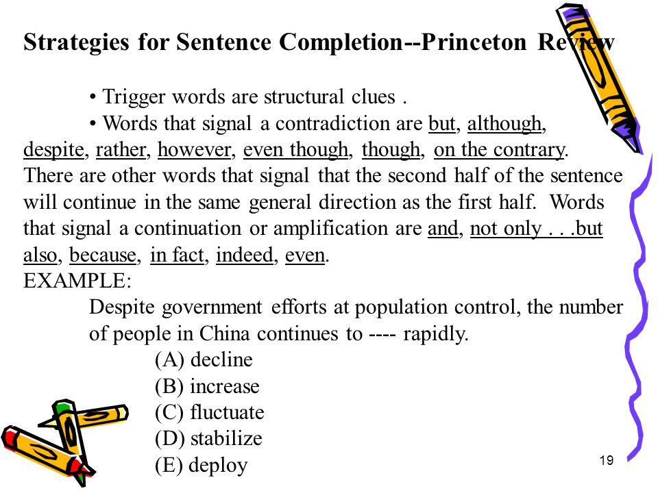 Strategies for Sentence Completion--Princeton Review