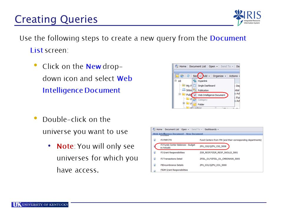 Creating Queries Use the following steps to create a new query from the Document List screen: