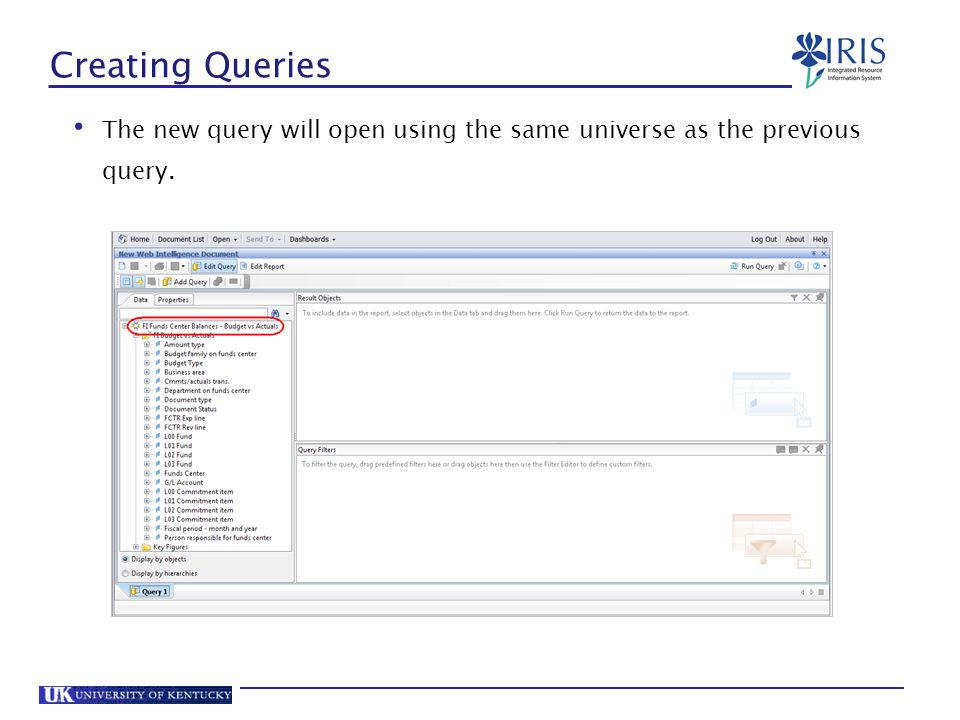 Creating Queries The new query will open using the same universe as the previous query. 109