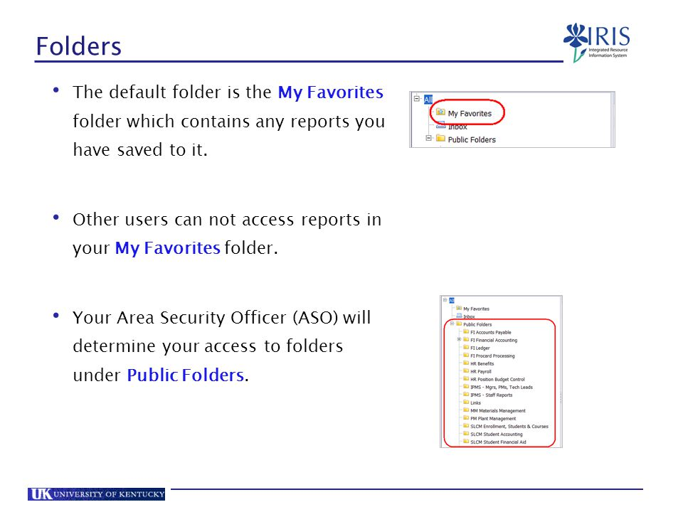 Folders The default folder is the My Favorites folder which contains any reports you have saved to it.
