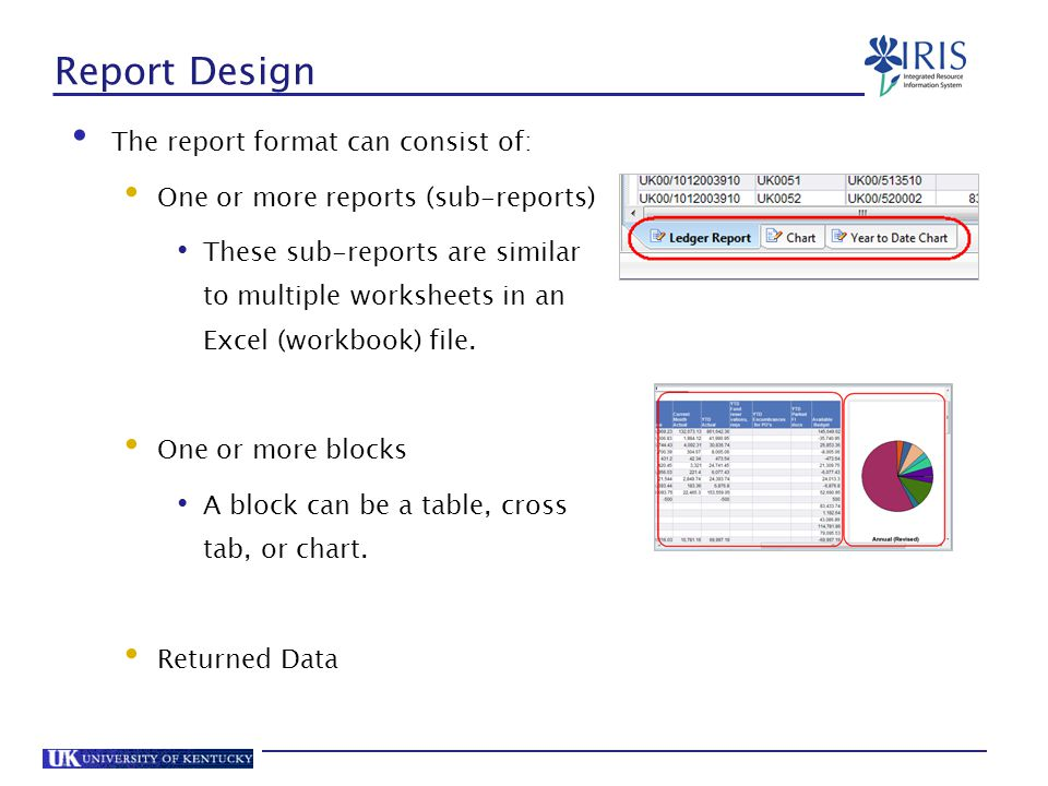 Report Design The report format can consist of:
