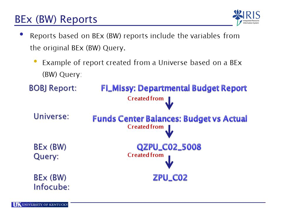 BEx (BW) Reports BOBJ Report: FI_Missy: Departmental Budget Report