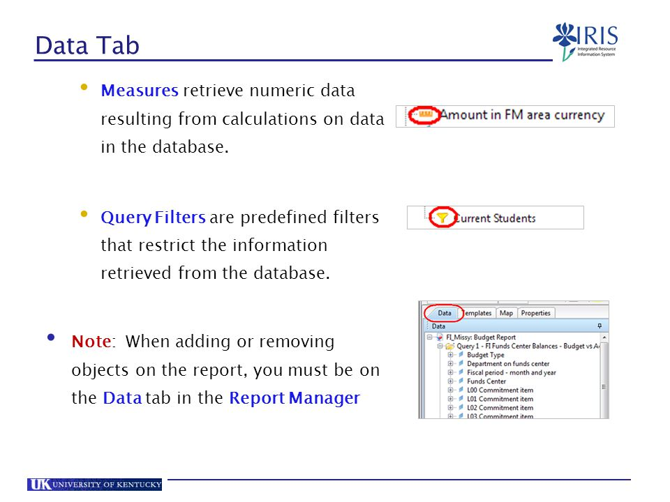 Data Tab Measures retrieve numeric data resulting from calculations on data in the database.