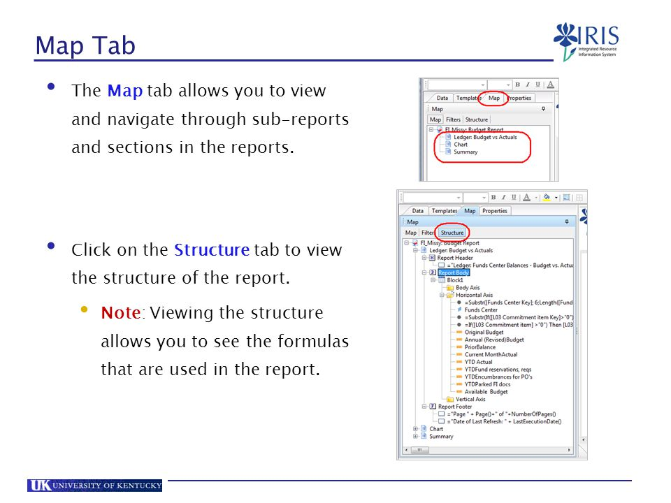 Map Tab The Map tab allows you to view and navigate through sub-reports and sections in the reports.