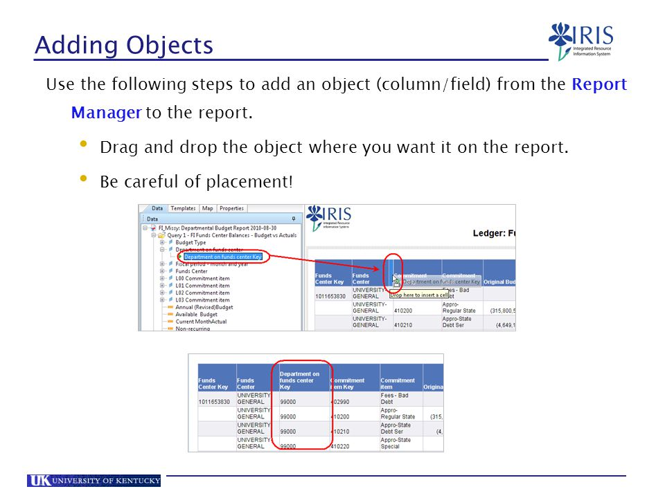 Adding Objects Use the following steps to add an object (column/field) from the Report Manager to the report.