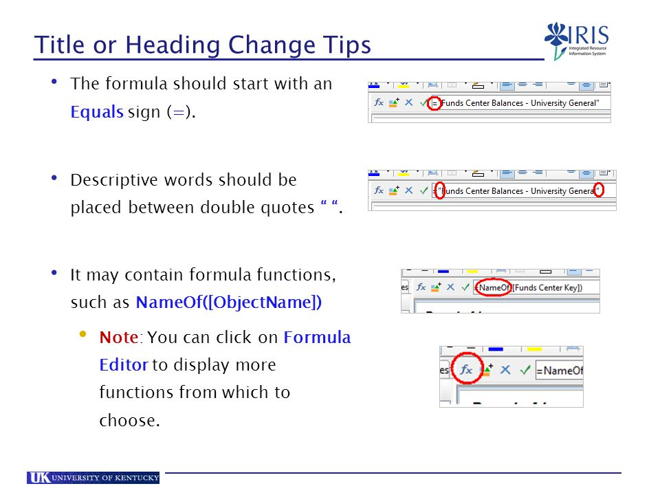 Title or Heading Change Tips