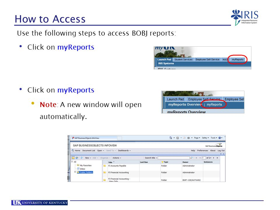 How to Access Use the following steps to access BOBJ reports: