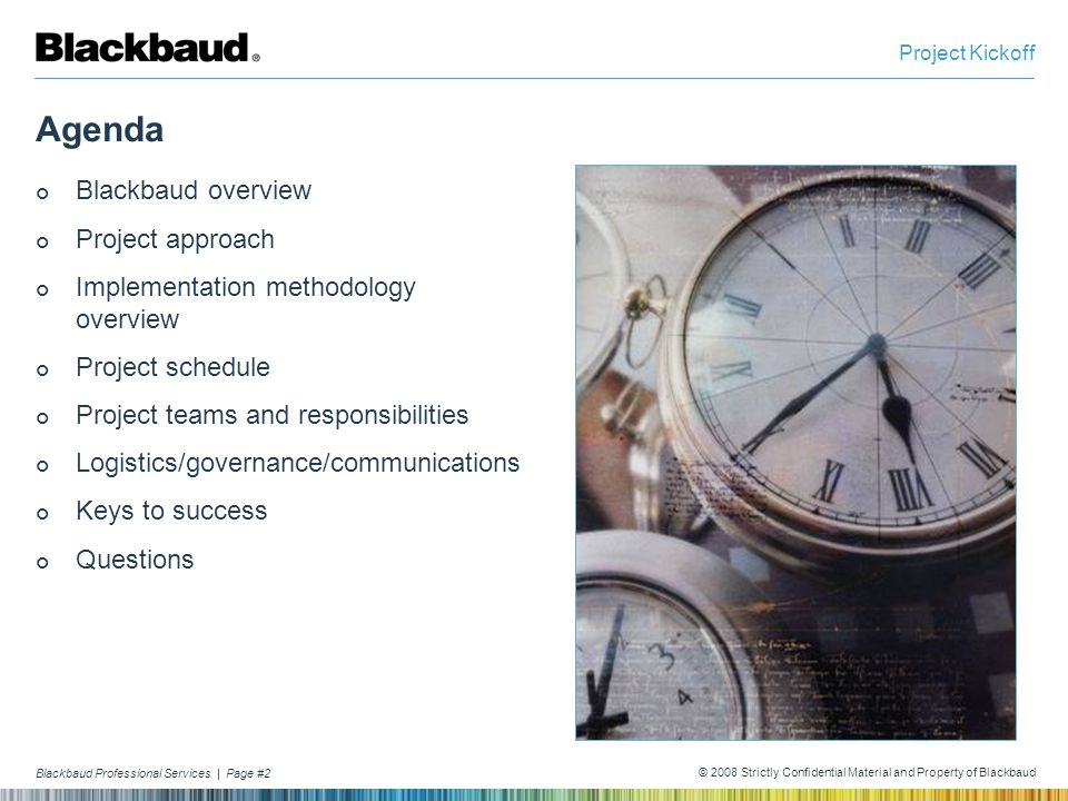 Agenda Blackbaud overview Project approach