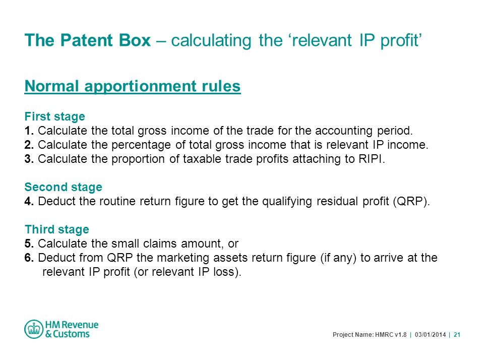 The Patent Box – calculating the 'relevant IP profit'