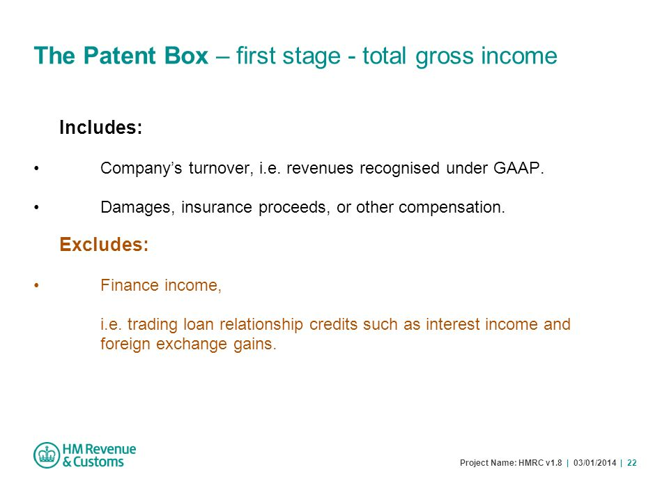 The Patent Box – first stage - total gross income