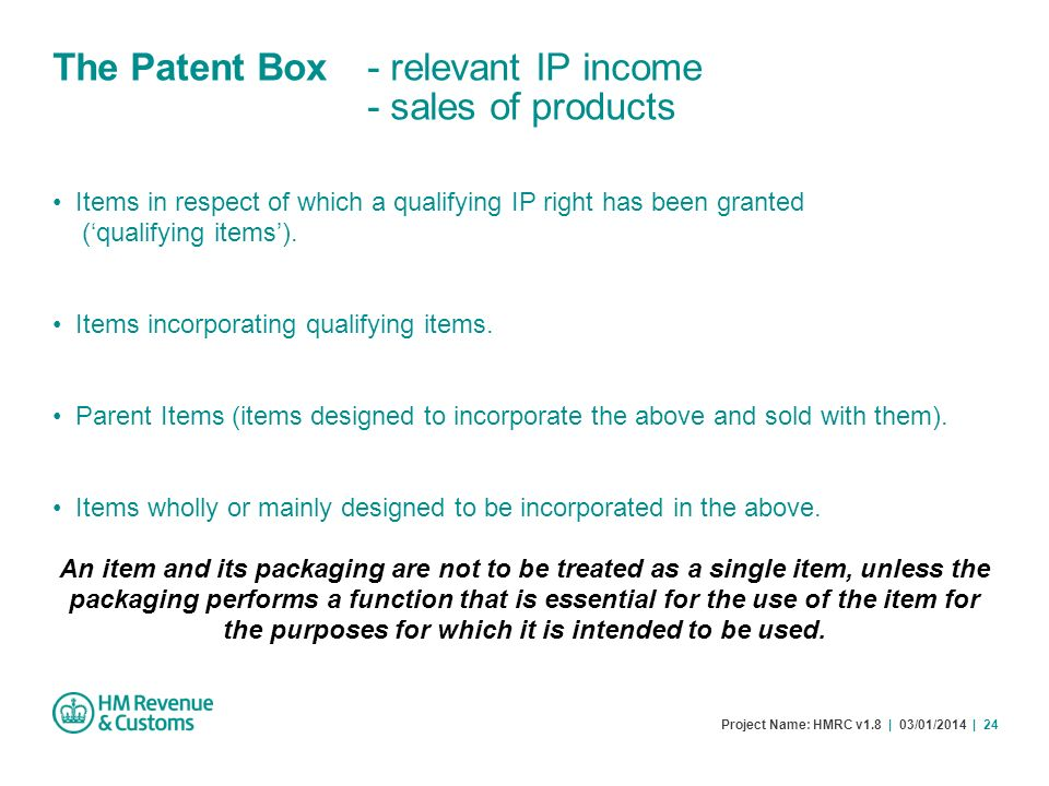 The Patent Box - relevant IP income - sales of products