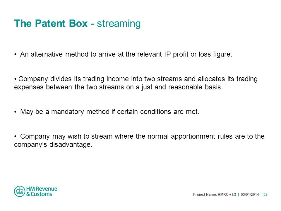 The Patent Box - streaming
