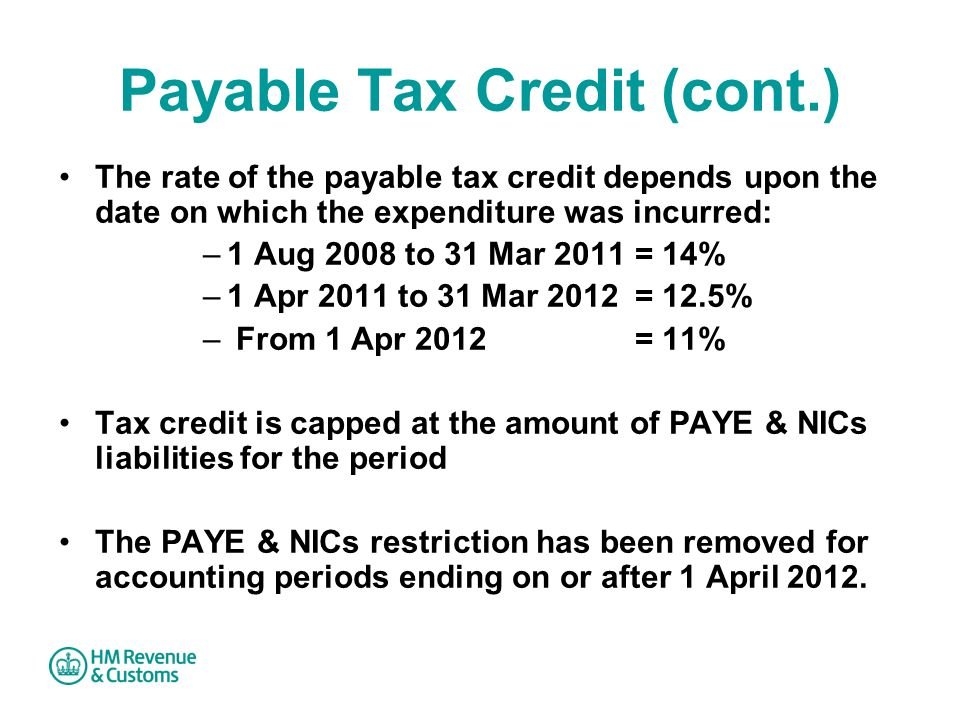 Payable Tax Credit (cont.)