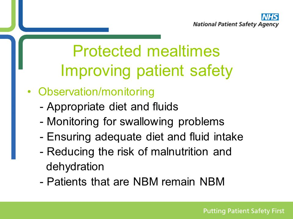 Protected mealtimes Improving patient safety