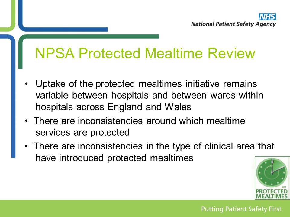 NPSA Protected Mealtime Review