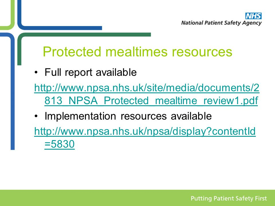 Protected mealtimes resources