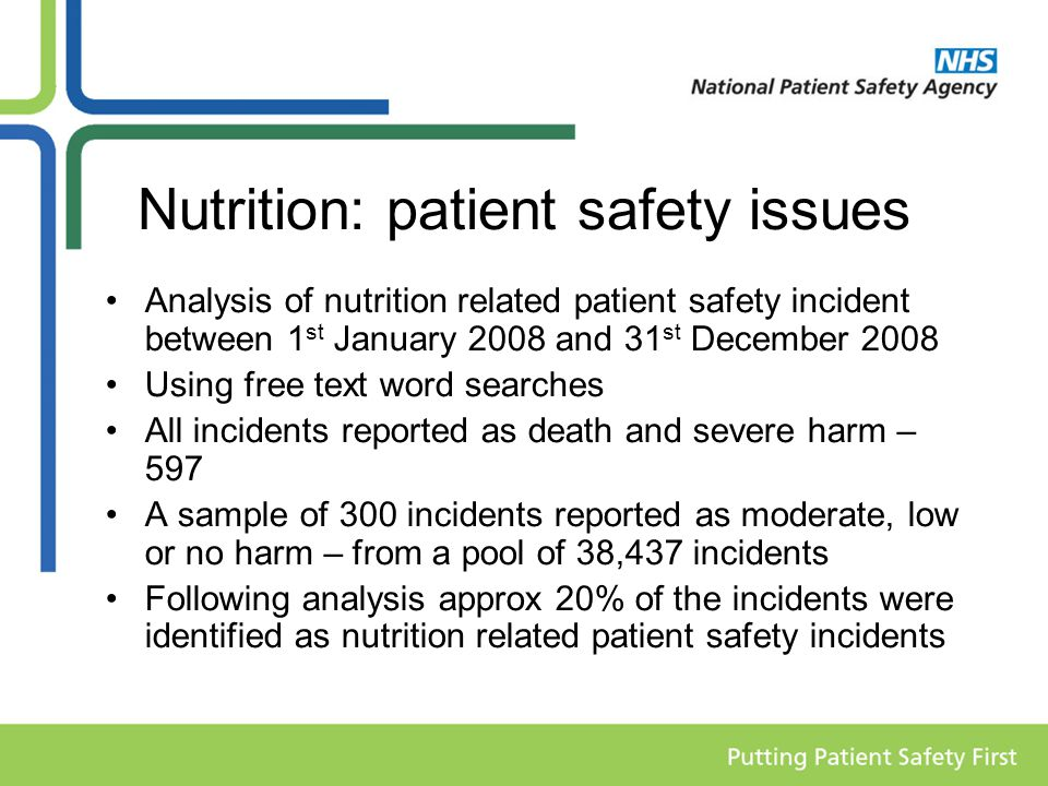 Nutrition: patient safety issues