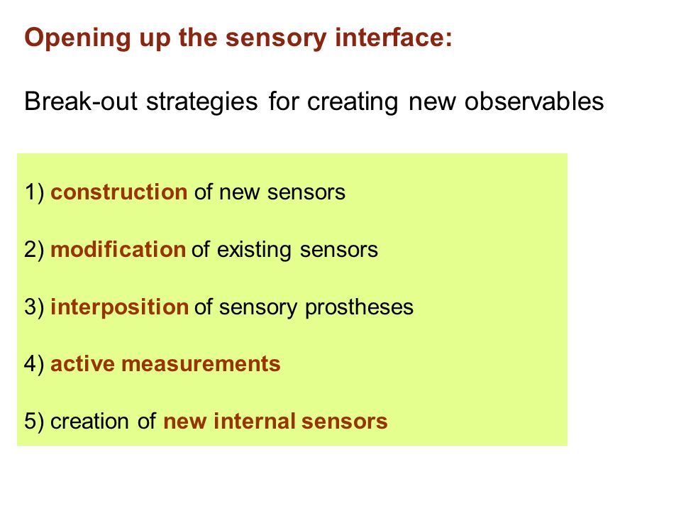 Opening up the sensory interface: Break-out strategies for creating new observables