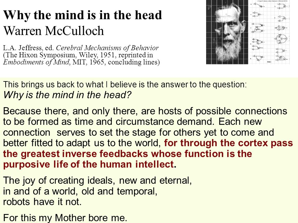 Why the mind is in the head Warren McCulloch