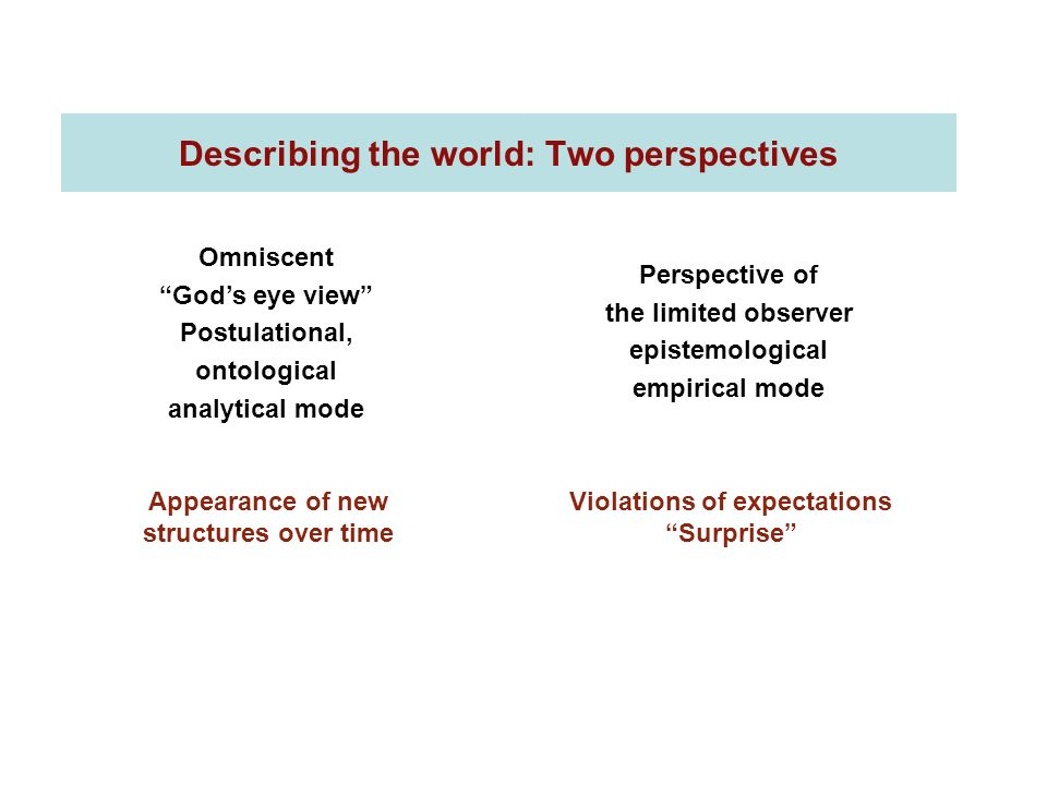 Describing the world: Two perspectives