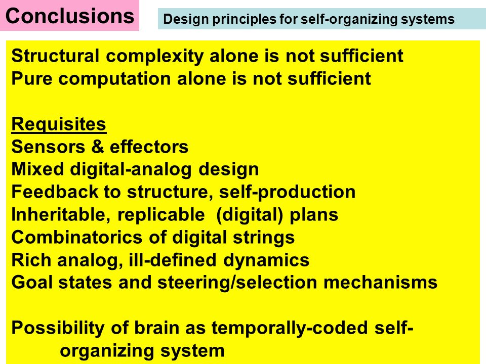 Conclusions Design principles for self-organizing systems.
