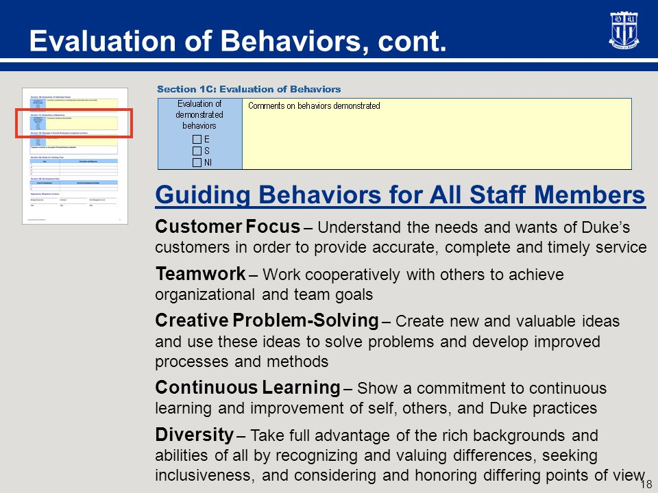 Evaluation of Behaviors, cont.