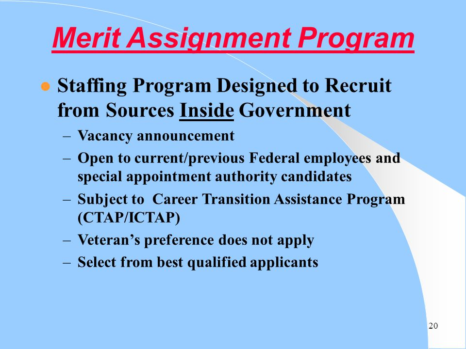 Merit Assignment Program