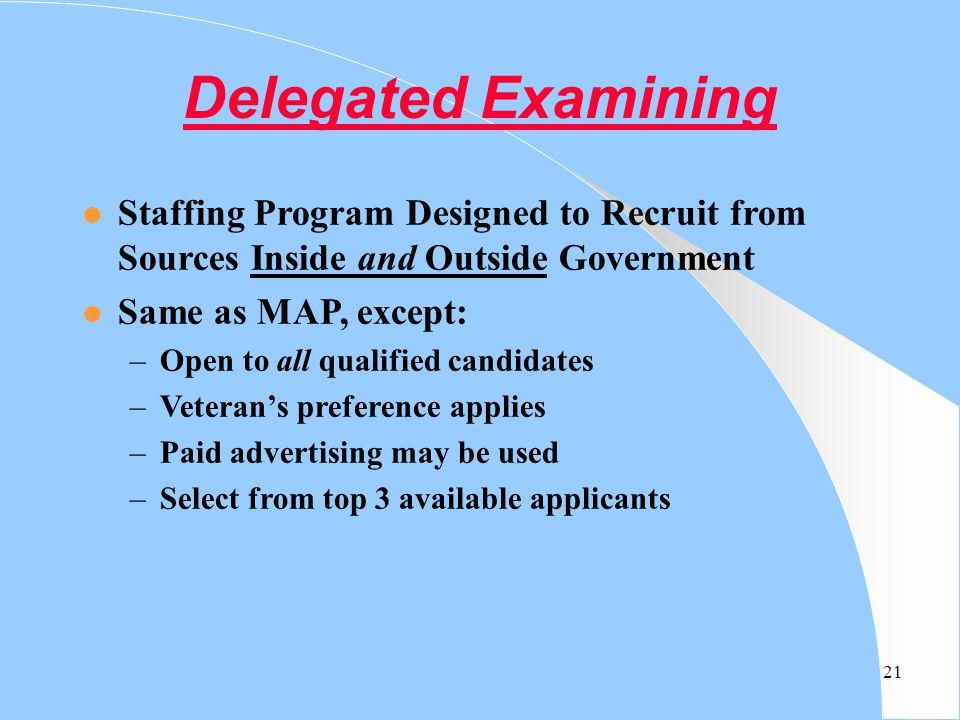 Delegated Examining Staffing Program Designed to Recruit from Sources Inside and Outside Government.