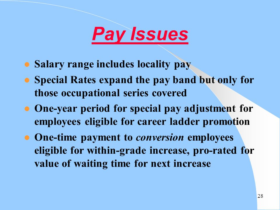 Pay Issues Salary range includes locality pay