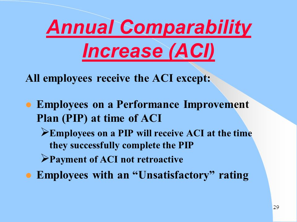 Annual Comparability Increase (ACI)