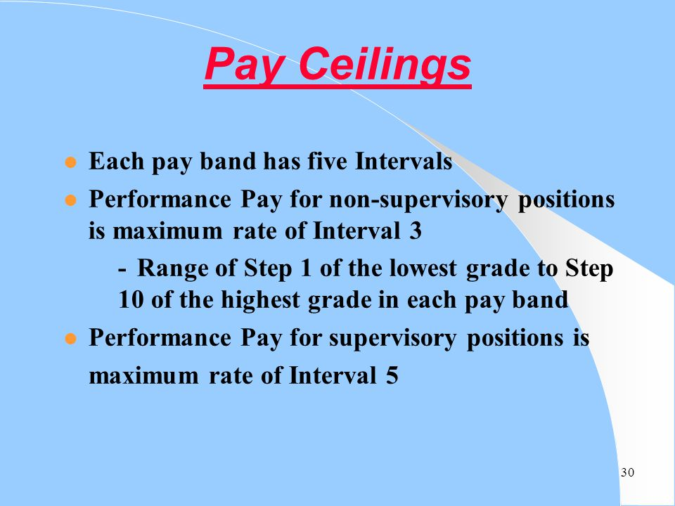 Pay Ceilings Each pay band has five Intervals