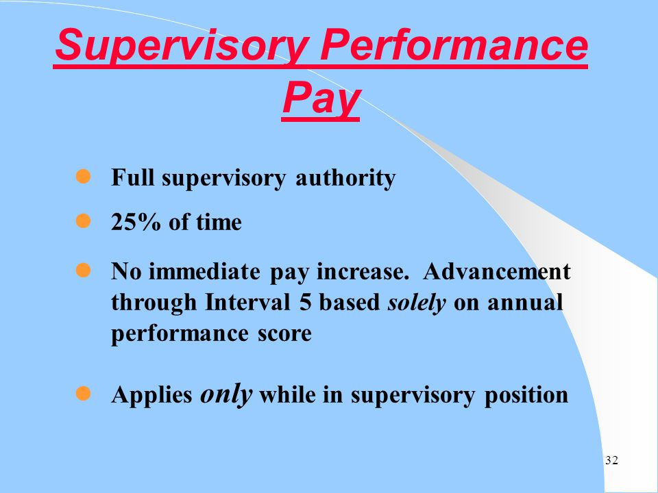 Supervisory Performance Pay