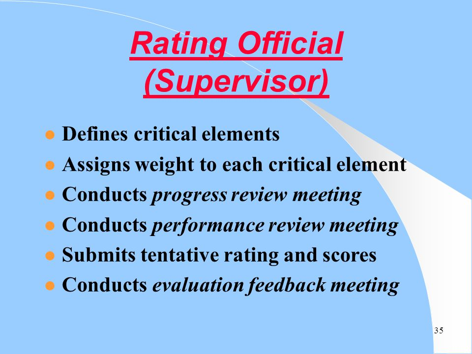 Rating Official (Supervisor)