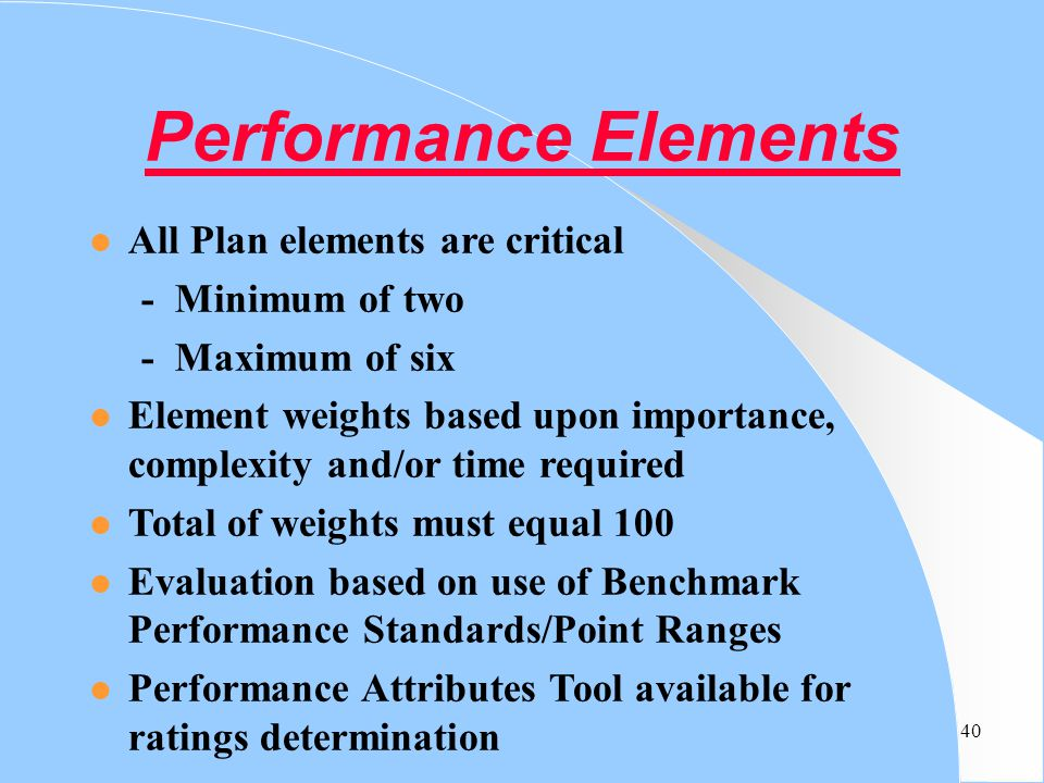 Performance Elements All Plan elements are critical - Minimum of two