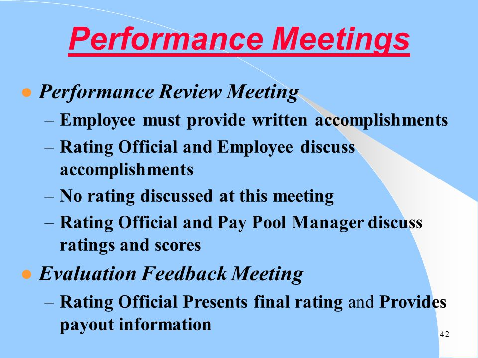 Performance Meetings Performance Review Meeting